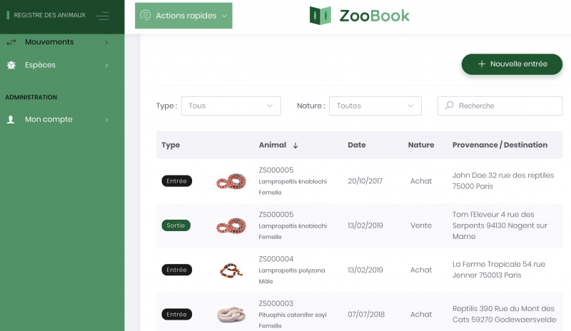 Mouvements ZooBook