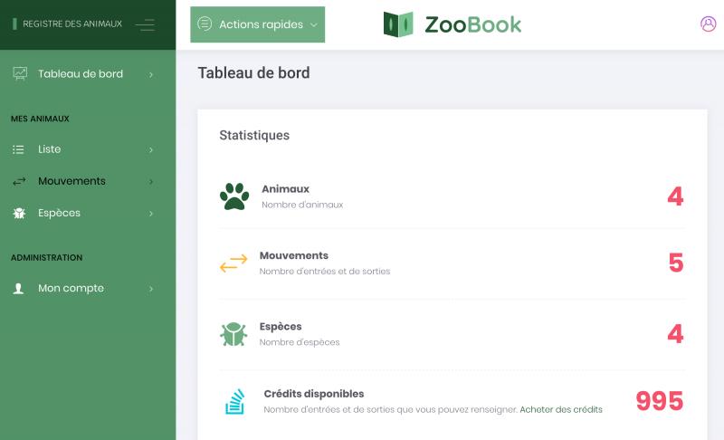 Tableau de bord ZooBook